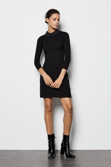 Womens Black Crystal Collar Knit Dress