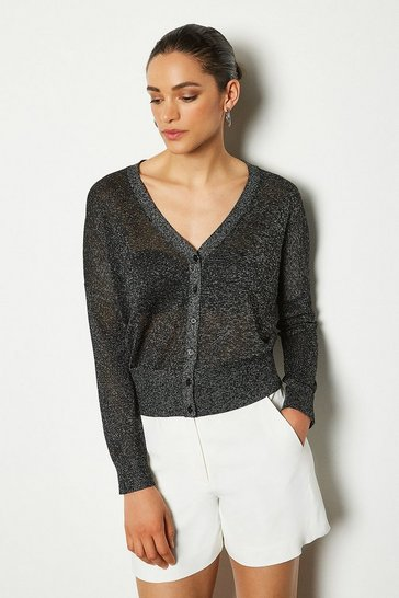 Womens Pewter Fine Gauge Cardigan