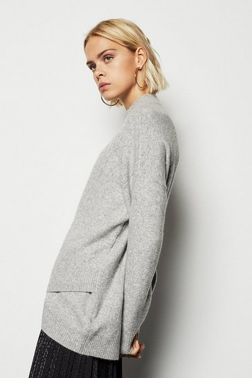 Womens Grey Cross Front Rib Jumper