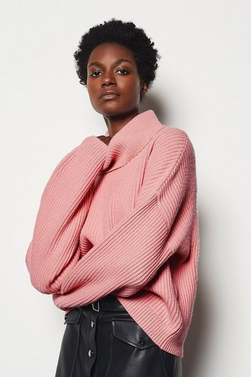 Womens Pink Chunky Rib Knit Jumper