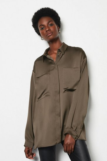 Womens Coffee Satin Utility Shirt