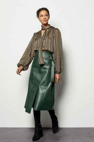 Womens Dark green Faux Leather Wrap Skirt