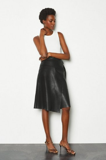 Womens Black Faux Leather Wrap Skirt