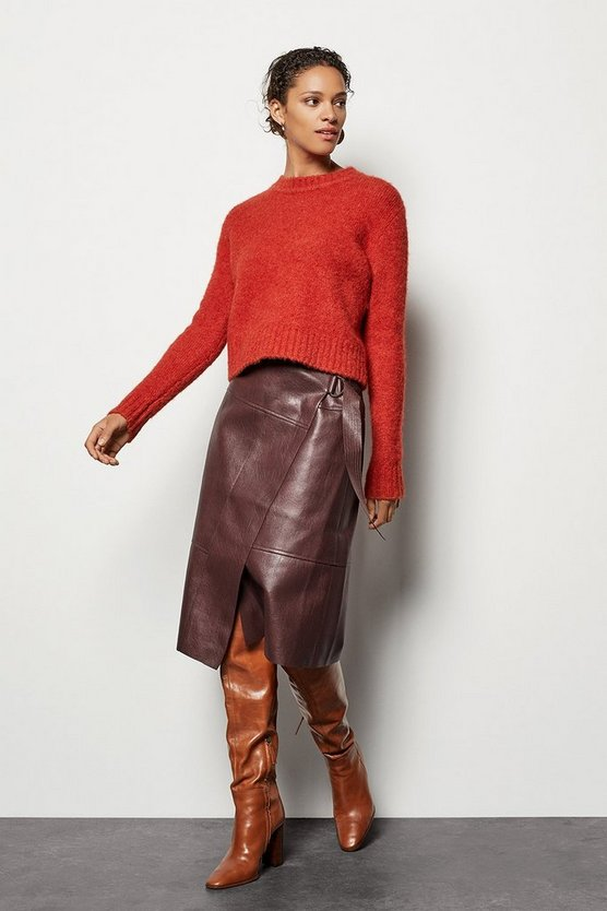 Womens Burgundy Faux-Leather Wrap Skirt