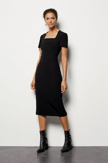 Womens Black Multi Stitch Pencil Dress