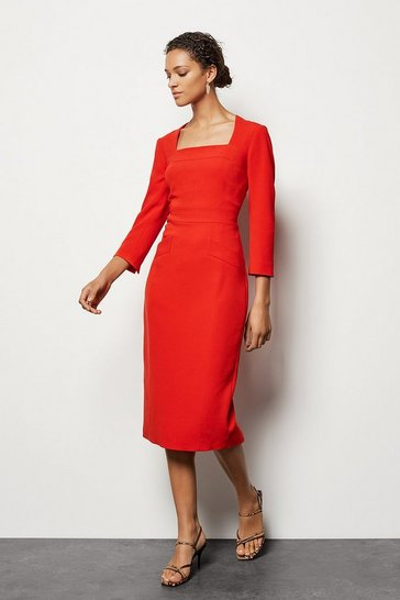 Womens Red Multi Stitch Pencil Dress