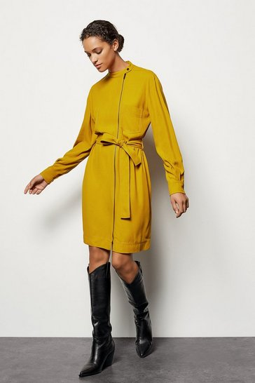 Womens Mustard Zip-Front Belted Dress