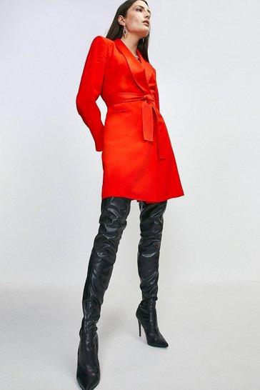 Womens Red Tuxedo Wrap Dress