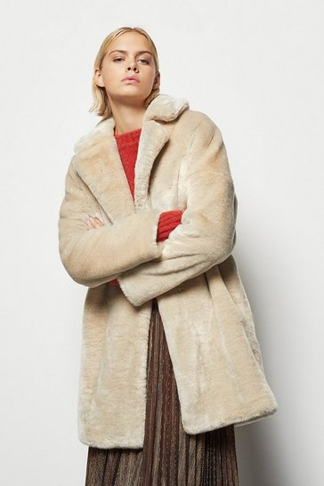 Womens Beige Tailored Faux Fur Coat