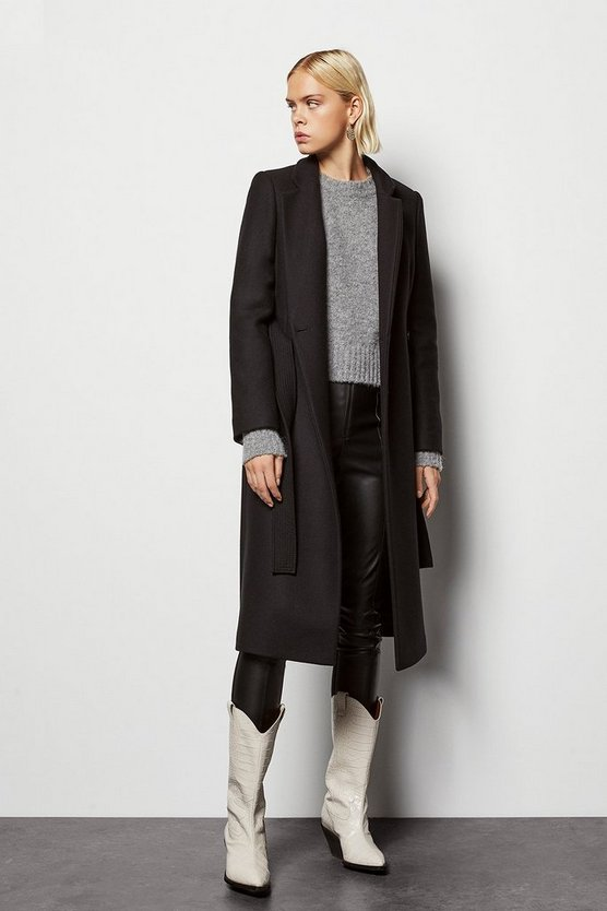 Black Investment Notch Collar Coat
