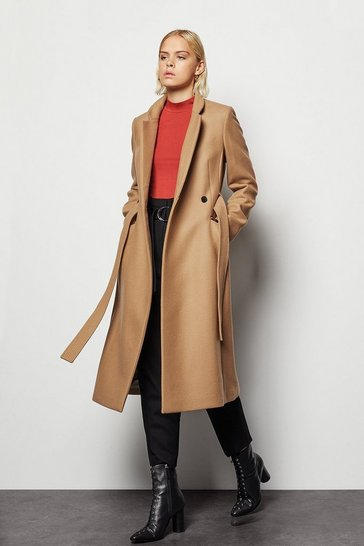 Womens Camel Investment Notch Collar Coat