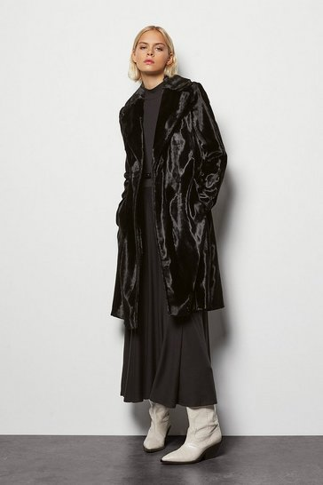 Womens Black Faux-Fur Wrap Coat