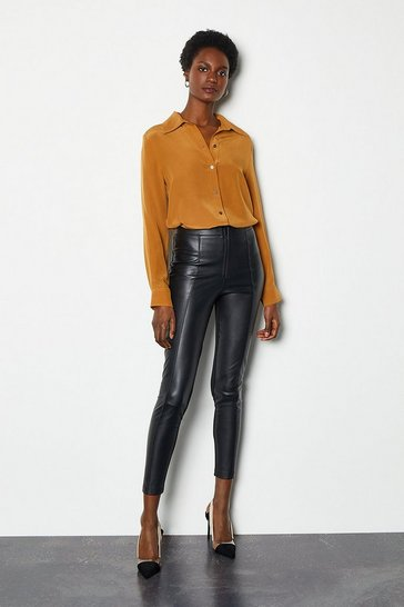 Womens Black Cropped Faux Leather Trousers