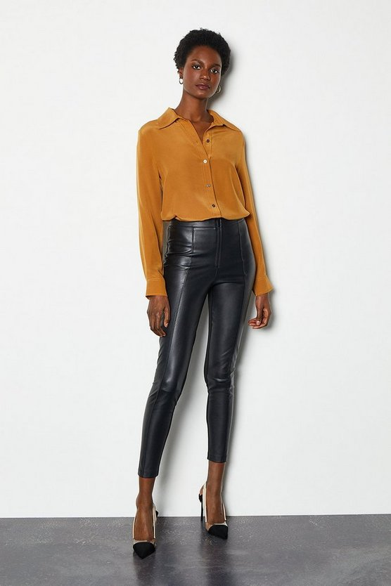 Womens Black Cropped Faux Leather Trouser