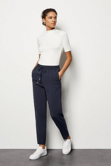 Womens Navy Pinstripe Tie-Waist Trousers