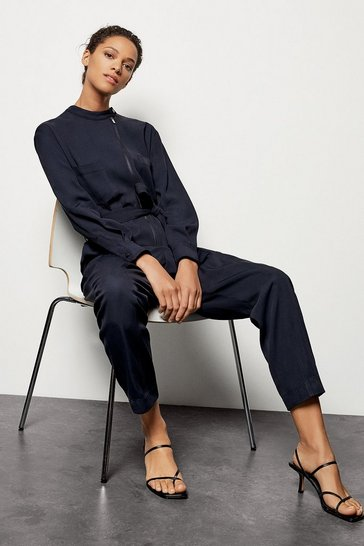 Womens Navy Zip Front Jumpsuit