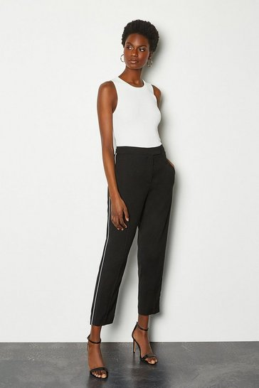 Womens Black Piping Detail Trouser