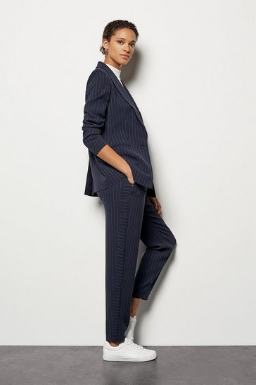Womens Navy Cut Out Pinstripe Jacket