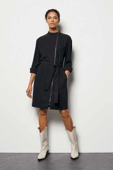 Womens Black Zip-Front Shirt Dress