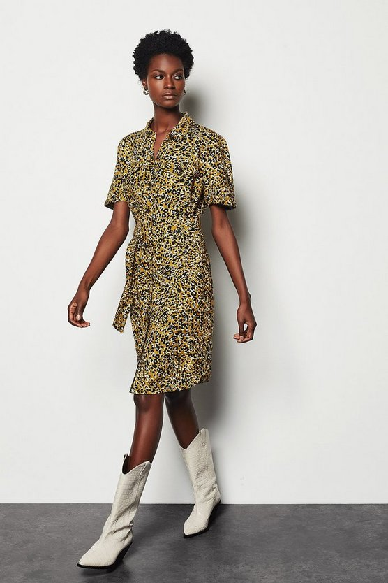 Womens Leopard Belted Midi Shirt Dress