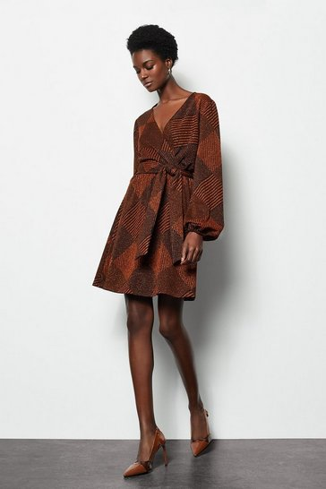 Womens Rust Jacquard Wrap Knitted Dress
