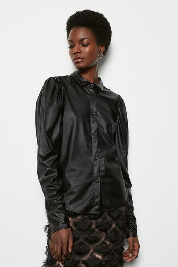 Black Puff Sleeve Faux Leather Shirt
