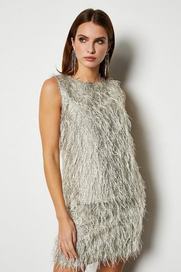 Womens Silver Faux Feather top