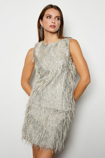 Silver Faux Feather Mini Skirt