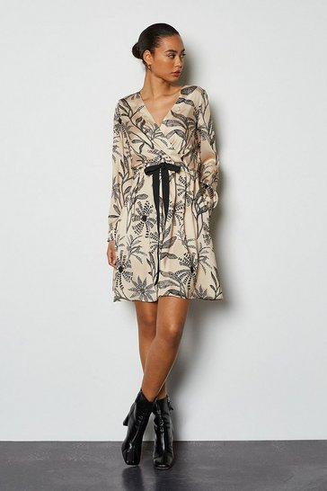 Black Satin Printed Wrap Dress