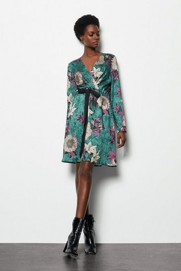 Womens Teal Satin Printed Wrap Dress