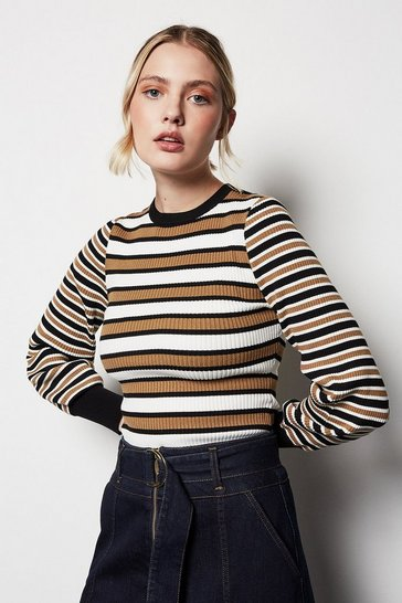 Womens Multi Long-Sleeve Ribbed Jumper