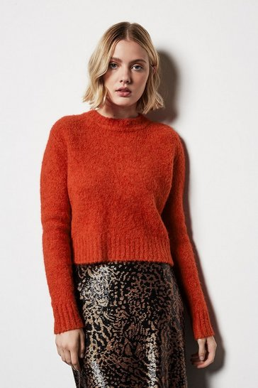 Womens Burnt orange Fluffy Cropped Jumper