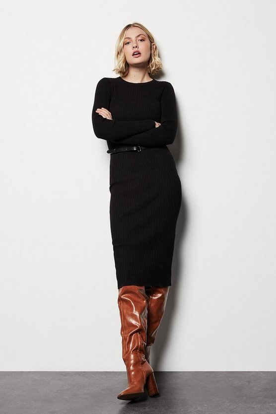 Womens Black Skinny Rib Knit Dress