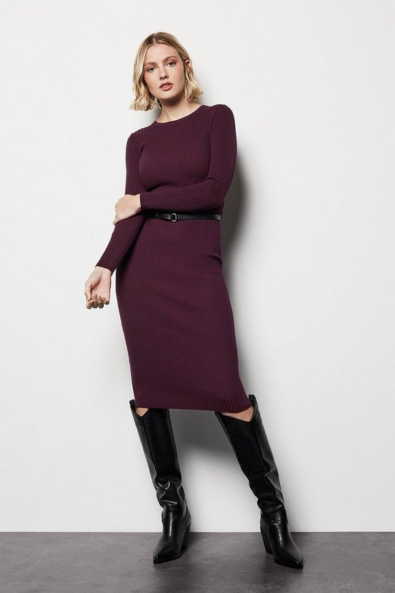 Womens Burgundy Skinny Rib Knit Dress