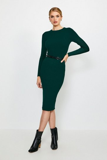 Green Skinny Rib Knit Dress