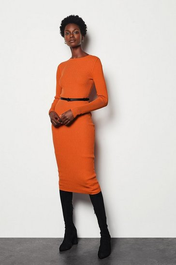Womens Orange Skinny Rib Knit Dress