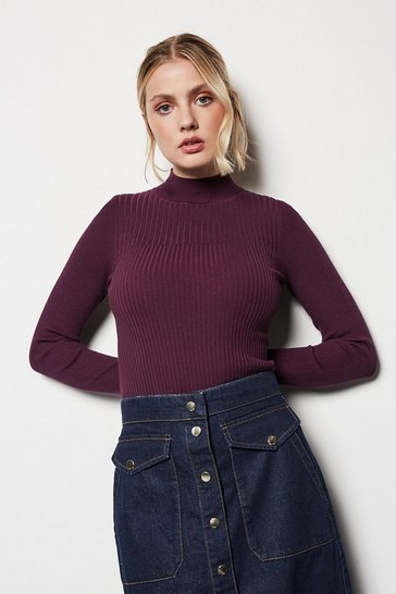 Womens Burgundy Skinny Rib Knit Jumper