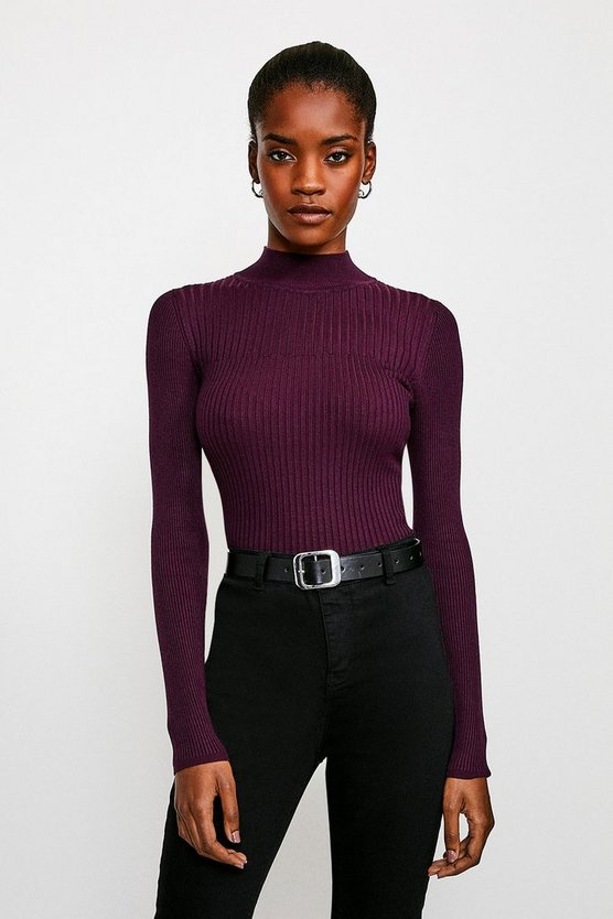 Purple Skinny Rib Knit Jumper