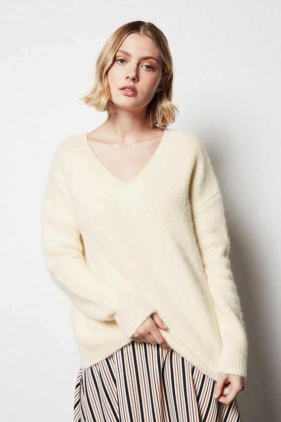 Ivory V Neck Fluffy Jumper