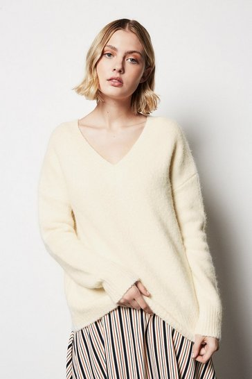 Womens Ivory V Neck Fluffy Jumper