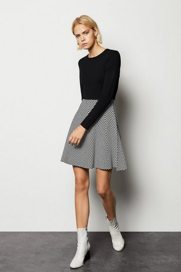 Womens Multi Chevron Knit Dress