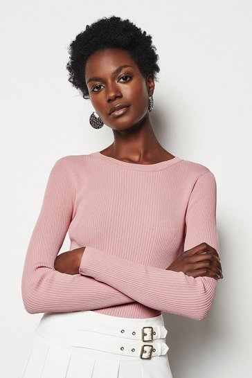 Womens Pink Round Neck Rib Jumper