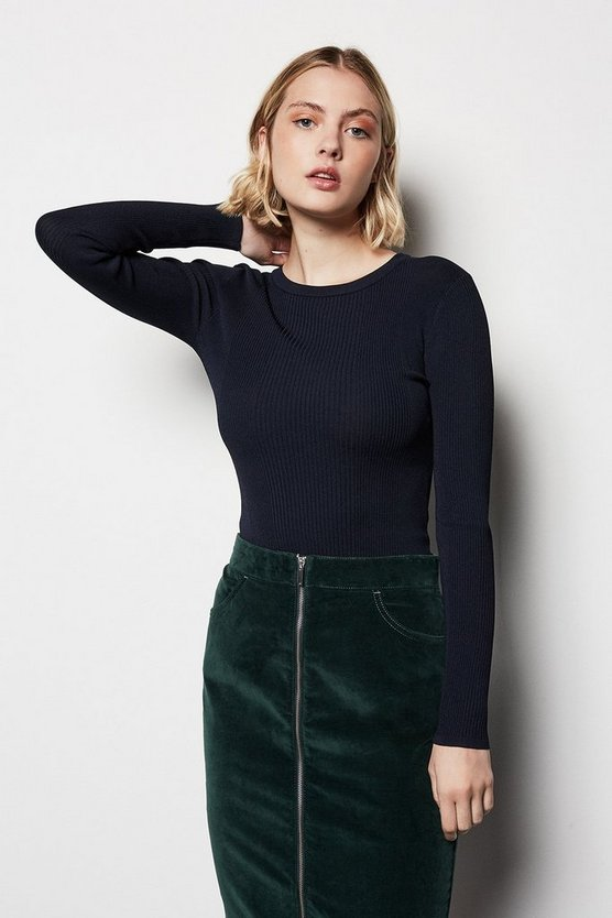 Womens Navy Skinny Rib Jumper