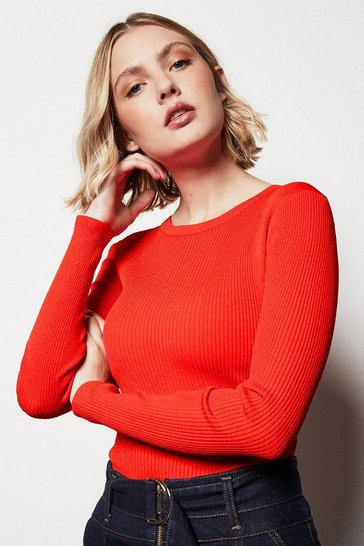 Womens Red Skinny Rib Jumper