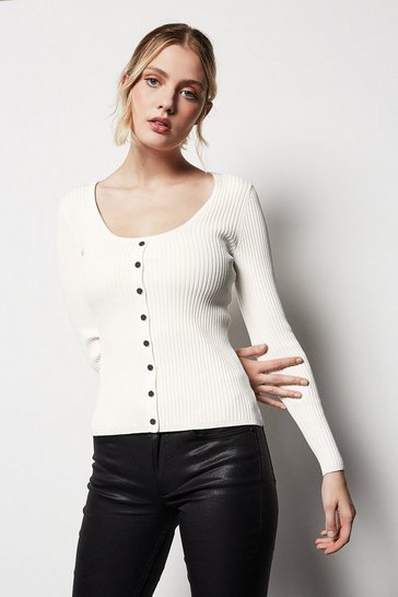 Womens Ivory Popper Front Rib Knit Jumper