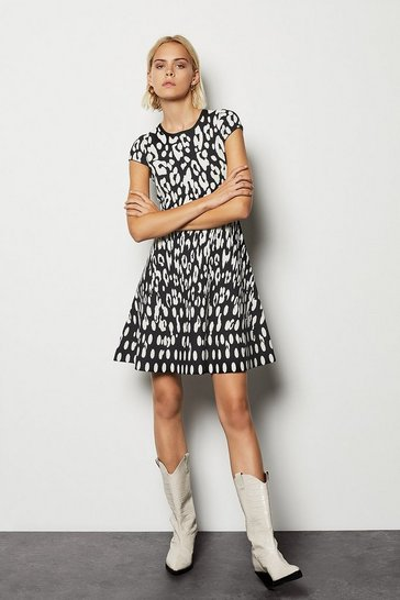Womens Multi Soft Leopard Knit Dress