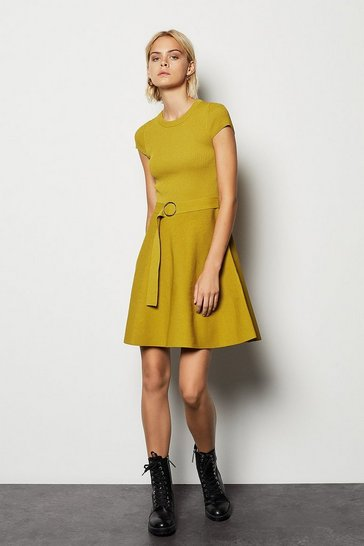 Womens Mustard Belted Knit Dress