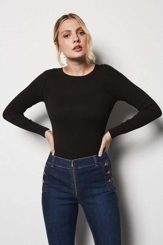 Womens Black Skinny Rib Jumper
