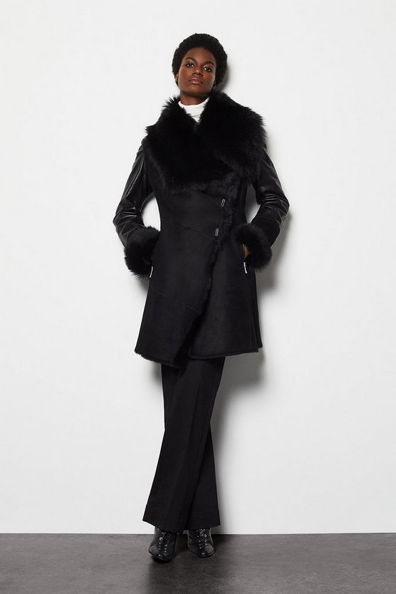 Womens Black Shearling Coat