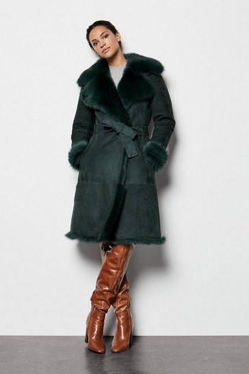 Womens Dark green Shearling Coat